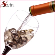 ball shape 304 stainless steel ice cube/single bottle wine chiller
