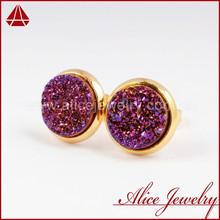 Wholesale Druzy Ear Studs Titanium Natural agate Round Gold Purple Druzy Earring