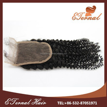 8a grade brazilian hair wholesale kinky curl hair lace closure with 4*4 bleached knots