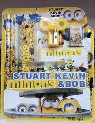 TF-01150901012 S/4 Cartoon Minions school supplies Minions cute pencil+ruler+pencil sharpener+rubber