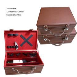 Portable Brown Leather Wine Bottle Cardboard Carrier
