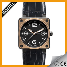 Brand New Square Shape Case Round Dial Leather Strap Alloy Metal Watch