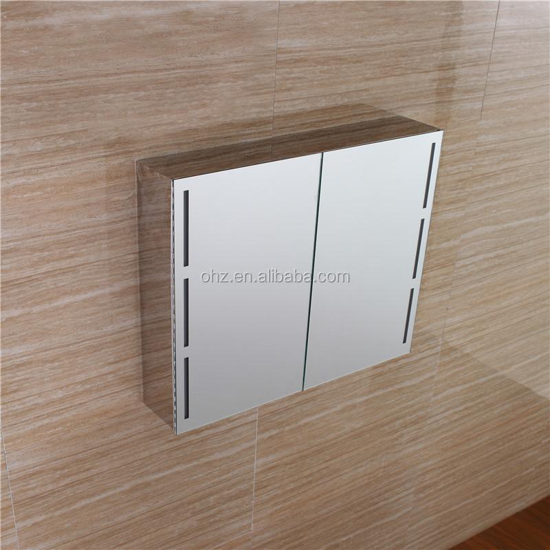 높은 투명 유리 문 스테인레스 스틸 욕실 거울 찬장 캐비닛 빛을 ...