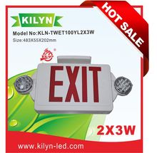 LED Exit Sign Factory Direct Sales Emergency Lighting Combo Unit / Rotate LED Lamp Head / Red Letter / White housing