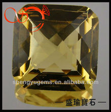 yellow square single checker glass bulk gemstone(GLSQ-10x10-1815)
