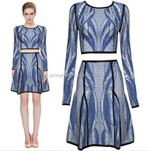 2015 the latest Fshion Dress for Women Bodycon Bandage Dress Blue and grey dress Long Sleeve Dress