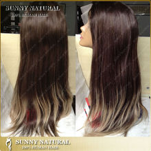 New Fashion Dip Dye human hair full lace wig Indian Women Hair Wig