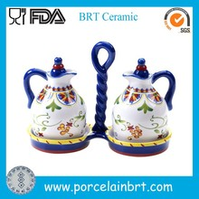 Italy style delicate ceramic oil and vinegar Cruet Set