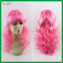 2015 Factory Wholesale Party Supply Pink Curly Long Hair Wigs