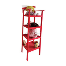 Vertical solid wood children toy case, Ladder toy case 4 tier Shelves Media Cases Wall Mount Stand Home