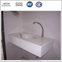 solid surface one piece bathroom countertop with sink