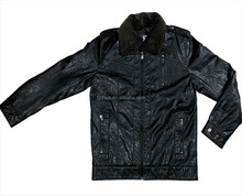 PU-men leather jacket with fur collar