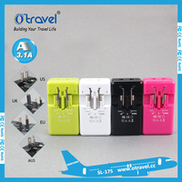Otravel 3.1A dual USB travel adapter with conversion plugs for worldwide travel