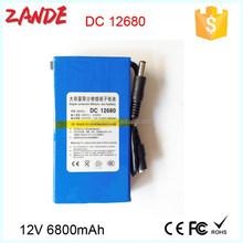 Super Durable Rechargeable Protable Li-ion Battery DC 12V 6800mAh + Plug Battery Pack
