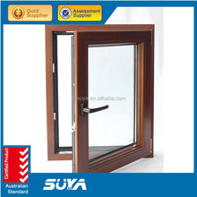 Double glazing cheap house aluminum wood cladding awning window for sale