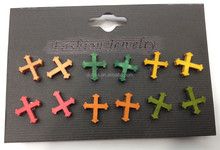Customized Handmade Wooden Cross Stud Earrings Women Accessories Wood Stud Earrings
