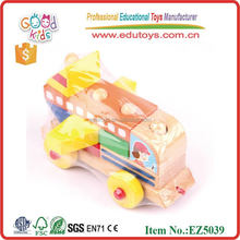 Funny Multifunction Intellect Building Block Educational Toys Baby Bus Toy Cute Wooden Toy
