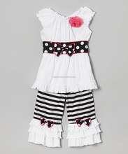 white black classics boutique outfits for girls garments ruffle pants with belt sets for baby girls