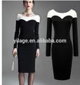 Ma458 2015 color de bloqueo de vestir para los negocios mini vestido estiramiento junta- manga larga cuello partido/lápiz