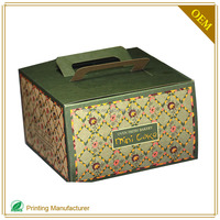 Recyle Brow Kraft Paper Cake Box With Handles Lids Template Custom