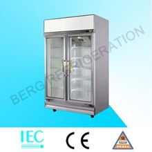fan cooling upright two door glass display showcase/drink refrigerator/beer cooler
