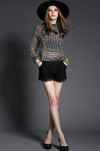 Hot Sale Factory Price Fancy Black and White chiffon Long Sleeves Casual Blouse Design Service