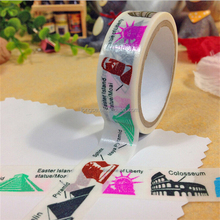 World Architecture Print Washi Tape 15mm*5m Roll Shop Decoration Paper Tape