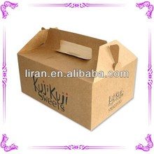Manufacturer made recycled kraft paper food box with handle