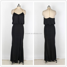 Latest fashion long style halter neck gold chain t back dress summer maxi dresses