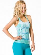 Custom 100% polyester blue pattern printed fitness gym yoga tank top gym women