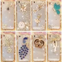 Rhinestonel Case Cover For Apple Iphone 5 5s Iphone 4 4s Cover ,Luxury Diamond Hard Back Skin Cover Mobile phone Protective Case