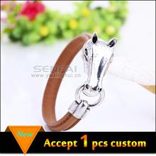 Fashion jewelry 2015 horse head leather men cuff bracelet bangle