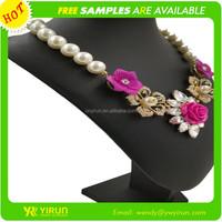 Newest design hot sale drop oil flower pearl chain cheap statement necklace