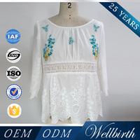 Openwork 3/4 Sleeve 2016 New Women White Cotton Blouse Collar Neck Designs