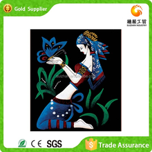 Fast supplier embroidery of shiny plastic stone 3d heavy-color painting picture of girl
