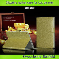 Tablet case cover Glittering super slim flip leather case for ipad mini ,for ipad mini case leather ,for ipad case mini air
