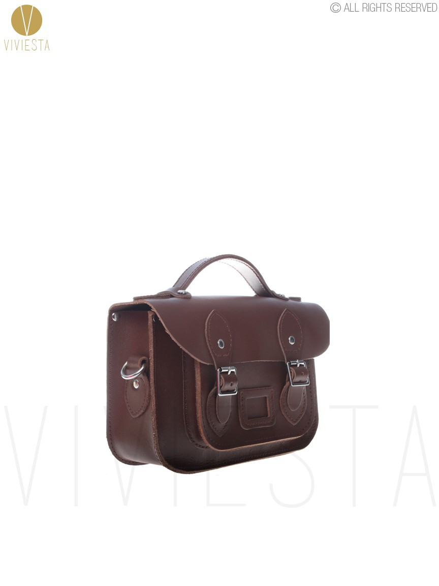 "8.5"" MINI BRITISH REAL GENUINE LEATHER SATCHEL BAG - Women's Brown Vin"