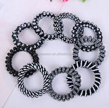 Classic Style Telephone Wire Silkscreen PU Hair Band Ponytail Holder Hair accessories Hair Band
