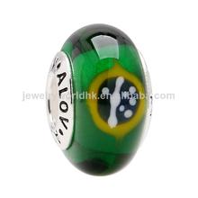 2014 ALOV producto nuevo moda plateado bandera brasileña verde los granos de cristal del murano