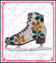 Aidocrystal 2015 newest hot sale handmade high quality fashion figure ice skating shoes for women