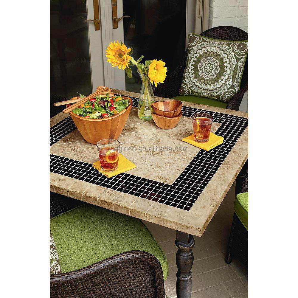 Stone granite top square table with 4 rattan dining chairs