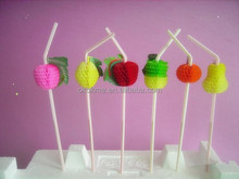 Fruit stripe plastic disposable drinking straws for promotional gift