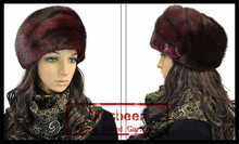 old rare vintage 100% Real Wine Red Mink Sable Fur Woman's Hat - Canada