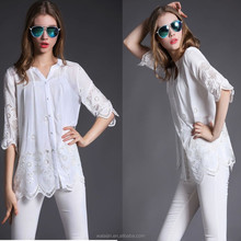 3/4sleeve embroidered white fabric ladies plus size peasant blouse, cotton blouse fashion