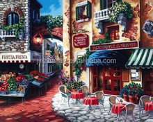 China factory best selling Small Town canvas oil painting with EN-71,ASTM,SGS
