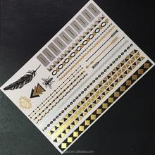 gold silver foil metallic tattoo fashion flash tattoo jewel color temporary tatoo sticker/indian bindi tattoos