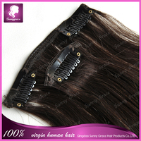 best selling cheap dark brown color straight Brazilian remy human natural hair clip in hair extension factory price