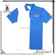 2015 blue and white piqued embroidery logo two-tone polo shirt