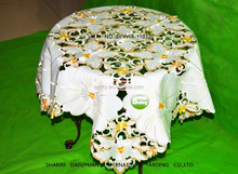big white and orange flowers embroidery table cloth