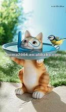 Polyresin estatua del gato para el jardín comedero para pájaros